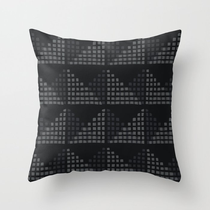 Layered Geometric Block Print in Charcoal Throw Pillow