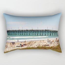 Beachgoers At Topsail Rectangular Pillow