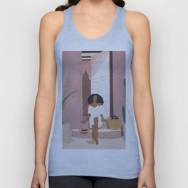 Woman sitting on the porch Unisex Tank Top