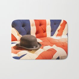 Black Bowler Hat on Union Jack Chesterfield Sofa Bath Mat