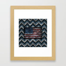 Blue Military Digital Camo Pattern with American Flag Framed Art Print