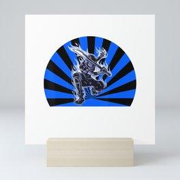 Blue Ninja  Samurai  Martial Arts Fighter T-Shirt Mini Art Print