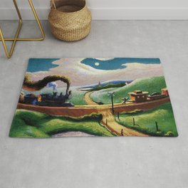American West Classical Masterpiece 'Trains Colliding' by Thomas Hart Benton Rug