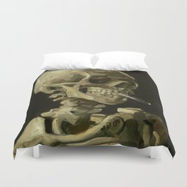 Skull of a Skeleton with Burning Cigarette Painting by Vincent van Gogh Duvet Cover