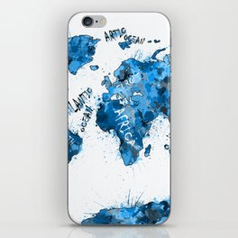 world map color splatter blue iPhone Skin