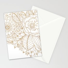 Elegant white faux gold glitter modern floral Stationery Cards