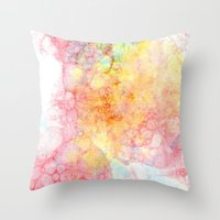 bubbles Throw Pillows featuring Bubbles by emilie