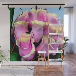 Bright Pink Rose Buds Exotic Floral Bouquet Wall Mural