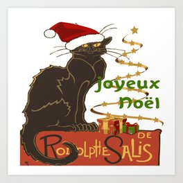 Joyeux Noel Le Chat Noir Christmas Parody Art Print