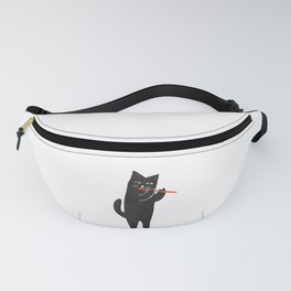 Black cat with flute Fanny Pack