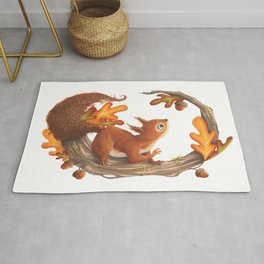 Squirrel and the autumn meal Rug