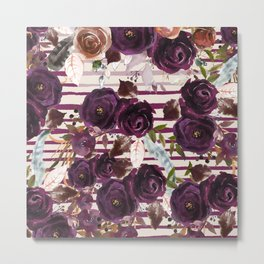 Watercolor ivory purple burgundy brown floral stripes Metal Print