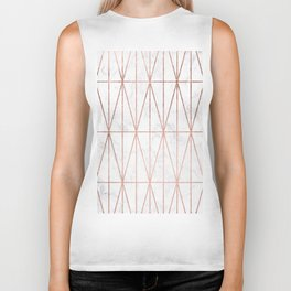 Modern geometric triangles faux rose gold pattern on white marble Biker Tank