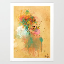 Bubble Gum Funky Girl Art Print