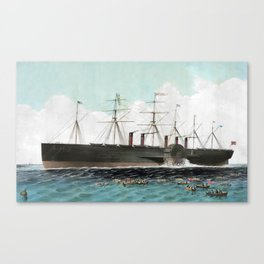 Vintage SS Great Eastern Steamboat Painting (1858) Canvas Print