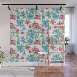 Blue Lilly Watercolor Wall Mural