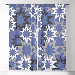 Stars silvergrey - blue background Blackout Curtain