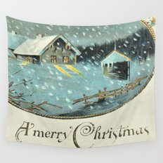 Snowy house in the woods vintage Wall Tapestry