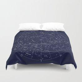 Constellation Map Indigo Duvet Cover