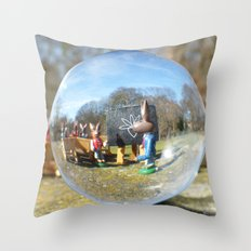Easter Bunny school, Glass Ball Photography Throw Pillow