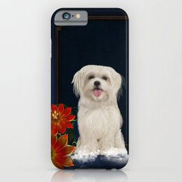 Cute little havanese puppy with flowers iPhone Case