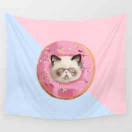 Persian Cat Strawberry Donut Wall Tapestry