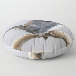 Fluffy Cassiar Dark-Eyed Junco on the Pear Tree Floor Pillow