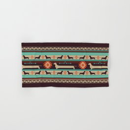 Boho dogs | Smooth Dachshund sunset Hand & Bath Towel
