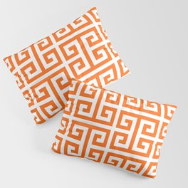 Orange and White Greek Key Pattern Pillow Sham