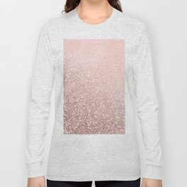 Rose Gold Sparkles on Pretty Blush Pink VI Long Sleeve T-shirt