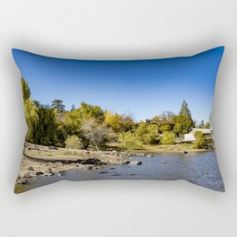 Beautiful Fall Colors Lining the Lake with a Boat Dock at Lake Cuyamaca, California Rectangular Pillow