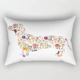 Dachshund - Watercolor/Floral Rectangular Pillow