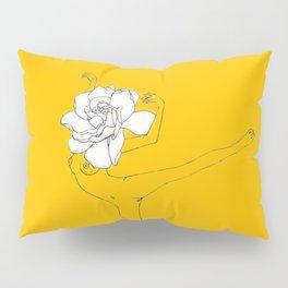 Gardenia Girl · Flower Woman drawing, white, honey gold yellow background, simple line Pillow Sham