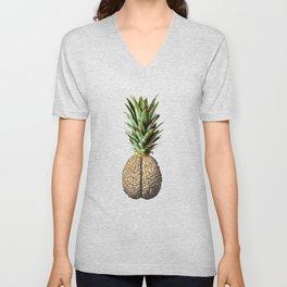 Pinebrain (pineapple) Unisex V-Neck