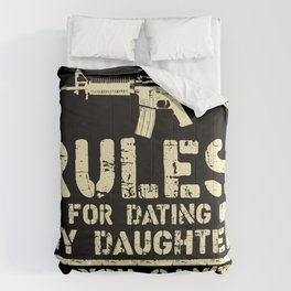 Rules For Dating My Daughter Funny Dad Saying Gift Comforters