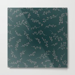 Berry Branches Pattern in Green and Pink Metal Print