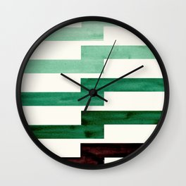Minimalist Mid Century Circle Frame Teal Aquamarine Deep Green Zig Zag Colorful Lightning Bolt Geome Wall Clock