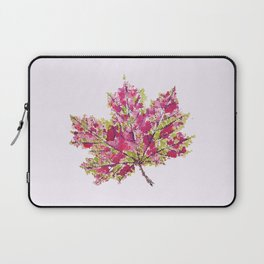 Pretty Colorful Watercolor Autumn Leaf Laptop Sleeve