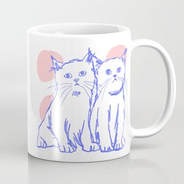 Katzen 002 / Minimal Line Drawing Of Two Cats Coffee Mug