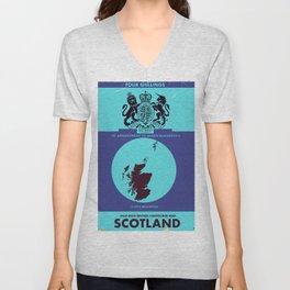 Vintage map cover of Scotland. Unisex V-Neck
