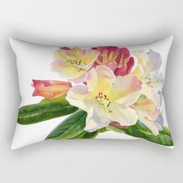Yellow Rhododendron on White Rectangular Pillow
