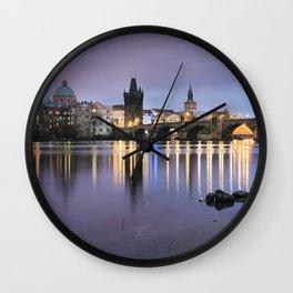 Charles Bridge at dawn Wall Clock