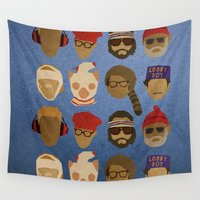 hats Wall Tapestries featuring Wes Anderson Hats by godzillagirl