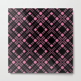 Black and pink abstract checkered pattern . Metal Print