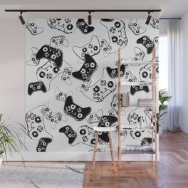 Video Game Black on White Wall Mural
