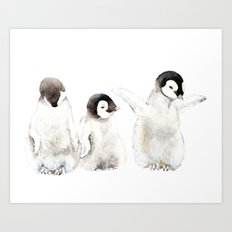 Playful Penguin Chicks Art Print