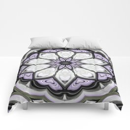 Ultra Violet Silver and Lilac Abstract Floral Pattern Comforters