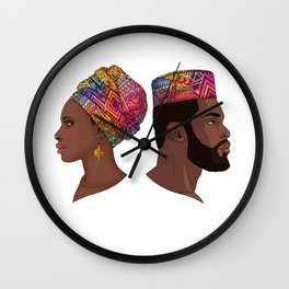 Afro Couple Wall Clock