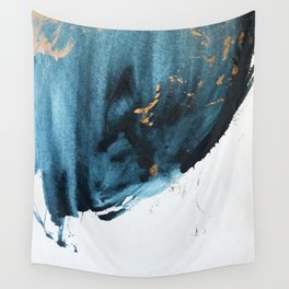 Sapphire and Gold Abstract Wall Tapestry