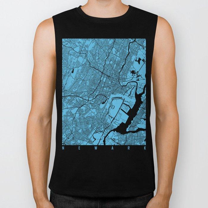 Newark map blue Biker Tank